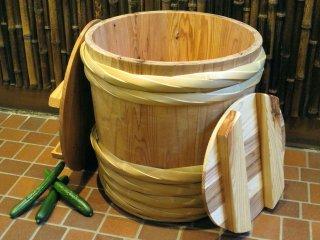 天然杉の漬物樽(2斗樽)漬物桶 竹タガ