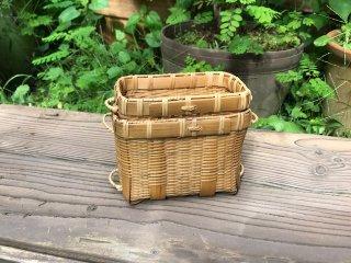 竹製磨き釣りエサ篭(中蓋付)