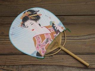 房州うちわ(美人画)和傘(玉子)