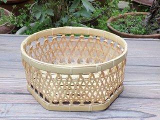 極上晒竹椀篭(底六角)白竹