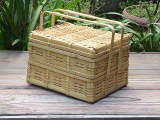 晒竹ピクニックバスケット(白竹)二段弁当