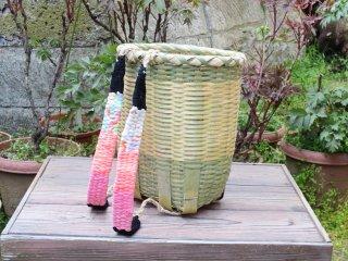 竹製背負い篭(小判)豆
