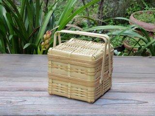 晒竹ピクニックバスケット(白竹)二段弁当(小)正方形