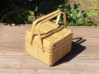 晒竹ピクニックバスケット(白竹)小(正方形)