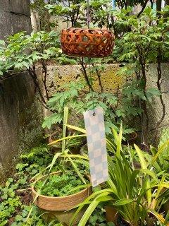 竹製風鈴(六角堂)染竹 南部鉄