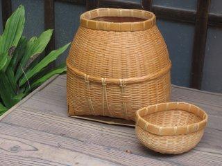 竹製磨きビク(蓋付)底四角 経年変色【現品限り】