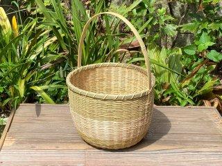 竹製手付き篭(菊底編)野菜かご