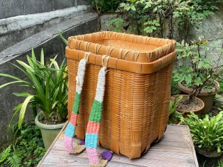 竹製磨き背負い篭(篭蓋付)しょいかご 経年変色【現品限り】