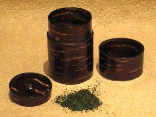樺細工 総皮茶筒(中長)桜皮