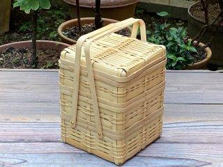 晒竹ピクニックバスケット(白竹)小(正方形)三段弁当