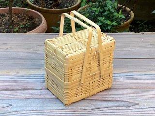 晒竹ピクニックバスケット(白竹)特小(長方形)二段弁当