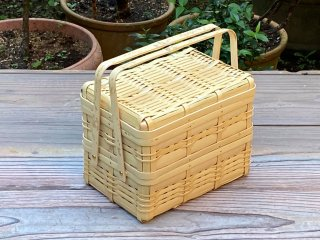 晒竹ピクニックバスケット(白竹)小(長方形)二段弁当
