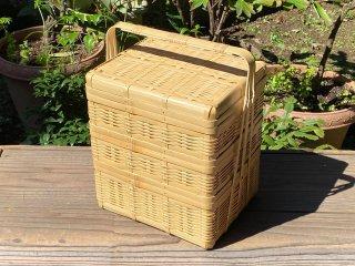 晒竹ピクニックバスケット(白竹)中 三段弁当