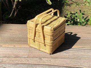 晒竹ピクニックバスケット(白竹)小(正方形)二段弁当(ちょい浅)