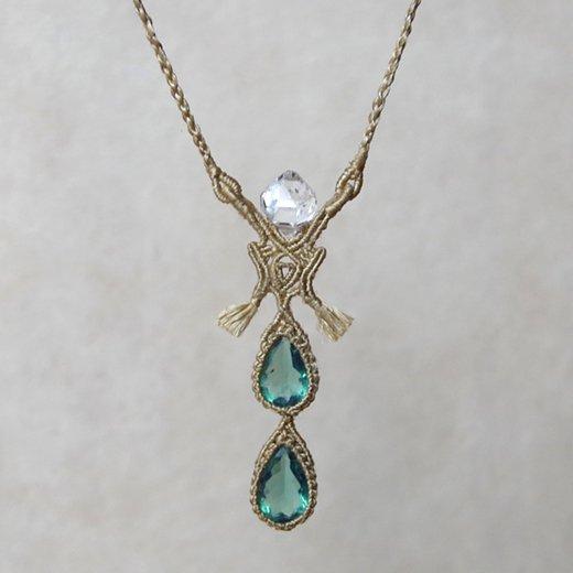フローライト(ダイアナマリア)×ハーキマーダイヤモンド/ムガシルクネックレス