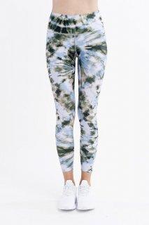 B41.Green Swirl Tie Dye Leggings
