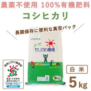 【新米】 滋賀県産 無農薬100%有機肥料コシヒカリ白米真空5kg