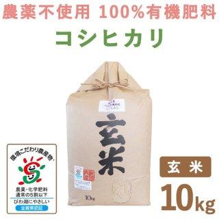 【新米】 滋賀県産 無農薬100%有機肥料 コシヒカリ玄米 10kg