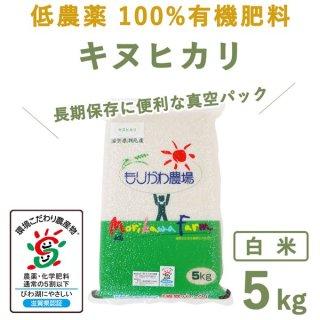 【新米】 滋賀県産低農薬100%有機肥料キヌヒカリ白米真空5kg
