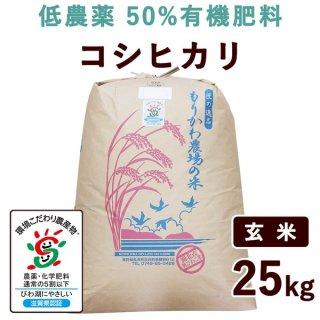 【新米】 滋賀県産 低農薬50%有機肥料コシヒカリ 玄米 25kg