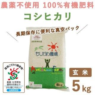 【新米】 滋賀県産 無農薬100%有機肥料 コシヒカリ玄米真空 5kg