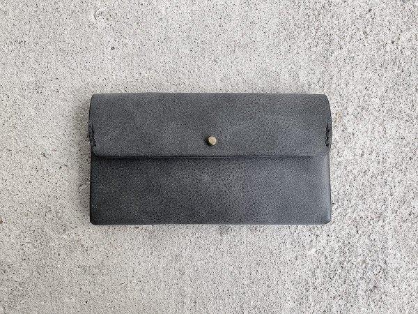 safuji  ミニ長財布(ホック)/  グレイブラック(裏張りブラック)