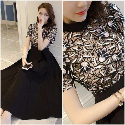 レース 刺繍 ハイネック ミディアム シフォン フレア ドレス