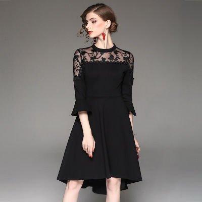 7分袖 刺繍 Aライン キュート 結婚式 二次会 お呼ばれ ドレス 全3色