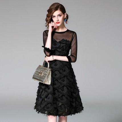7分袖 上品 スリム 結婚式 お呼ばれ 二次会 ドレス ワンピース