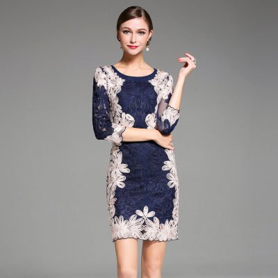 刺繍 タイト 7分袖 スリム ショート丈 上品 結婚式 二次会 ドレス ワンピース