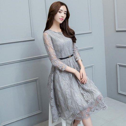 ラウンドネック レース Aライン 花柄 ベルト付き ミディアム 七分袖 ドレス