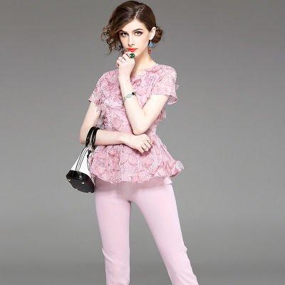 半袖 刺繍 ペプラム トップス ロングパンツ エレガント ピンク セットアップ