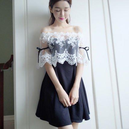 フレア オフショルダー レース リボン ミディアム 結婚式 ドレス ワンピース