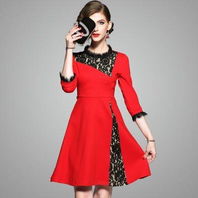 レース切替 7分袖 上品 結婚式 二次会 お呼ばれ ドレス ワンピース