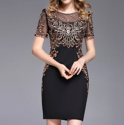 刺繍 半袖 タイト ショート丈 二次会 結婚式 お呼ばれ ドレス ワンピース