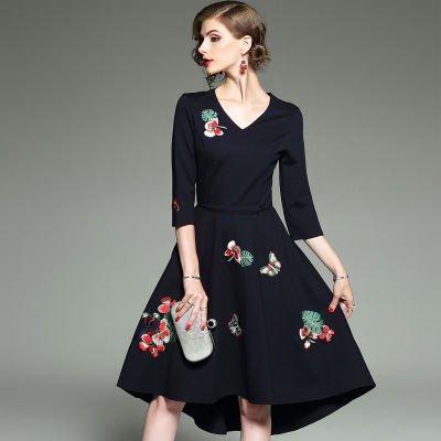 Aライン Vネック 刺繍 7分袖 ショート丈 上品 結婚式 二次会 ドレス ワンピース