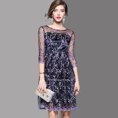 刺繍 花柄 7分袖 ショート丈 上品 結婚式 二次会 パーティー ドレス ワンピース