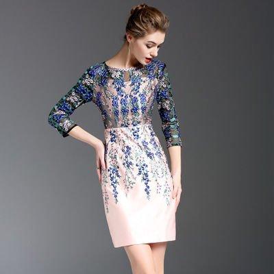 チュール お花 刺繍 タイト 7分袖 ショート丈 エレガンス ドレス ワンピース