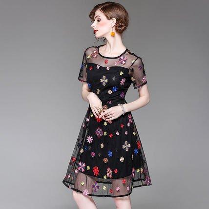 花柄 刺繍 シースルー スリム 半袖 キュート お呼ばれ ドレス ワンピース