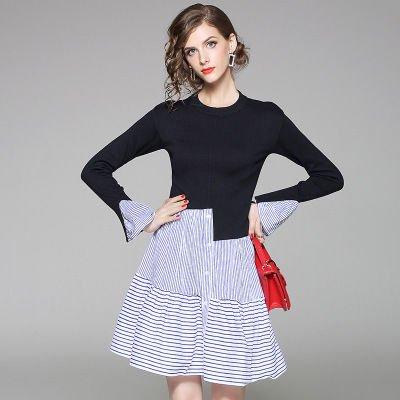 異素材ミックス 長袖 ニット 切替 ストライプ 上品 カジュアル ドレス ワンピース