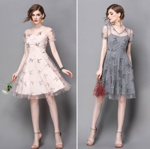 チュール 刺繍 レース スパンコール 半袖 結婚式 パーティー ドレス ワンピース