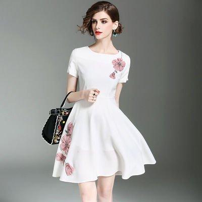 ビジュー 花柄 Aライン 半袖 スリム ショート丈 ドレス ワンピース