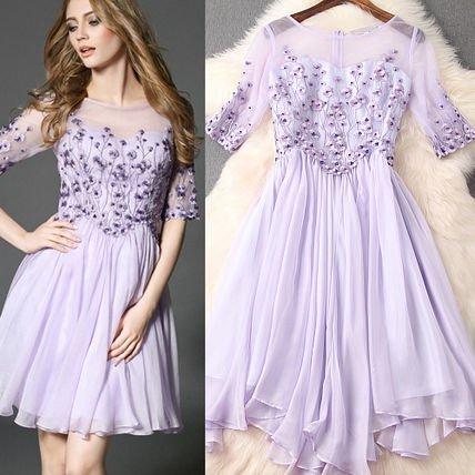 お花 刺繍 ビジュー キュート 結婚式 パーティー ドレス ワンピース