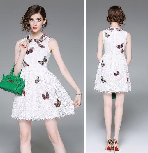 総レース 刺繍 ノースリーブ ショート丈 結婚式 お呼ばれ ドレス ワンピース