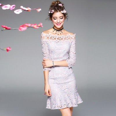 レース 花柄 7分袖 フレア キュート 二次会 結婚式 ドレス ワンピース