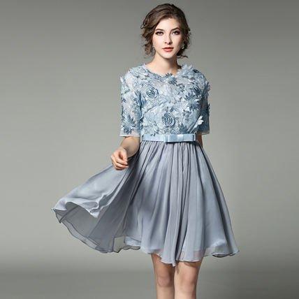 花柄 シフォン 半袖 Aライン 刺繍 キ ュート 結婚式 ドレス ワンピース