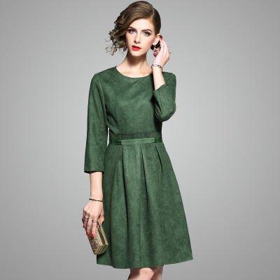 モノカラー 7分袖 Aライン スリム 上品 結婚式 ドレス ワンピース