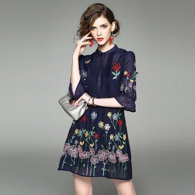 花柄 刺繍 7分袖 ショート丈 上品 カジュアル ドレス ワンピース