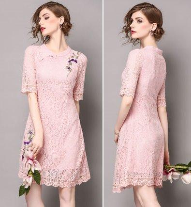 半袖 スリム レース 花柄 Aライン 刺繍 エレガント ドレス ワンピース