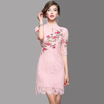 チャイナドレス風 総レース お花 刺繍 半袖 タイト ドレス ワンピース